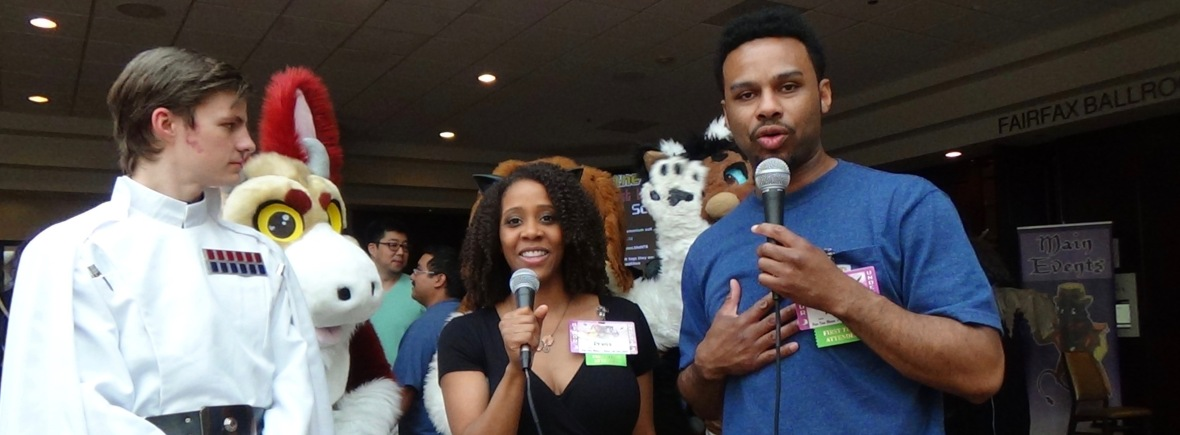 Steph and Sidney at Fur The More Convention with Furries and Star Wars Cosplayers